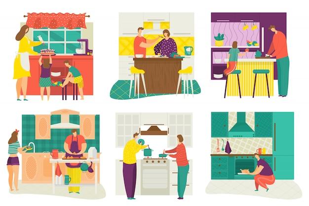 Leute, die zu hause küche kochen, tisch servieren, kinder lernen, essenssatz der karikaturillustration zu kochen. männer, frauen und kinder bereiten hausgemachte mahlzeiten im herd zum abendessen zu.