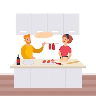 Leute, die zu hause zusammen kochen