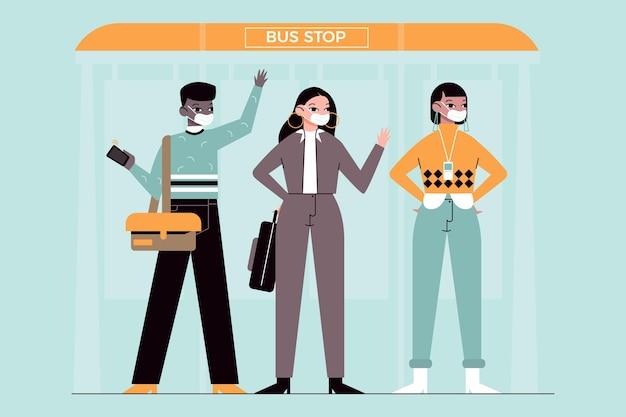 Leute, die zurückgehen, um mit gesichtsmaske im busbahnhof zu arbeiten