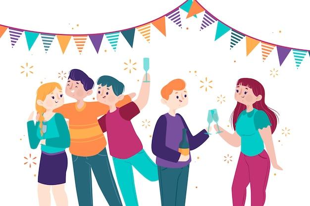 Leute, die zusammen an der party feiern