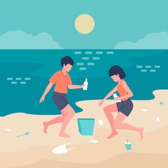 Leute, die zusammen den strand säubern