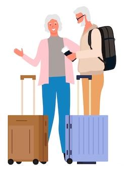 Leute, die zusammen großmutter-großvater reisen