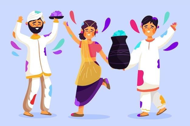 Leute, die zusammen holi festival feiern