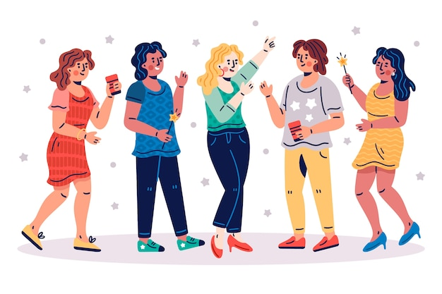 Leute, die zusammen konzept feiern