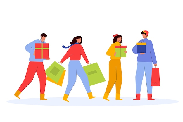 Leute, die zusammen weihnachtsgeschenke kaufen