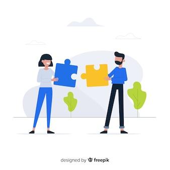 Leute, die zusammenarbeiten, um ein puzzle zu machen