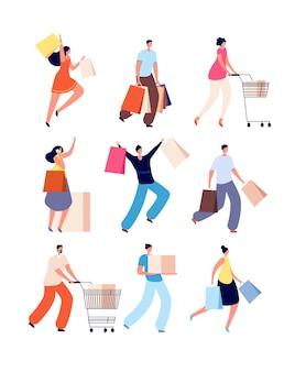 Leute einkaufen. frau mit geschäftstaschen