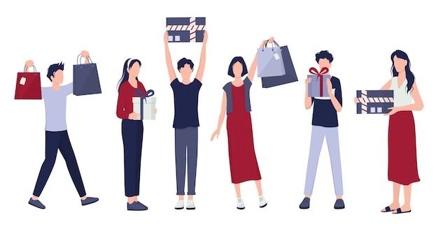 Leute einkaufen set. sammlung der person mit tasche und box. großer verkauf und rabatt. lebensmittelgeschäft oder modegeschäft. kunde mit einkaufstaschen. fröhlicher käufer.