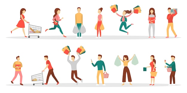 Leute einkaufen set. sammlung der person mit tasche