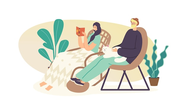 Leute entspannen sich auf stühlen-konzept. entspannte junge frau sitzt zu hause auf einem gemütlichen korbrollstuhl oder einem sessel und liest ein interessantes buch