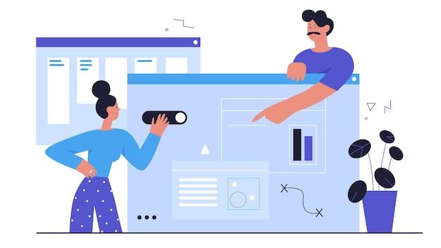 Leute entwickeln ui ux design abstrakte webentwicklungsprozessarbeit des entwicklerteams