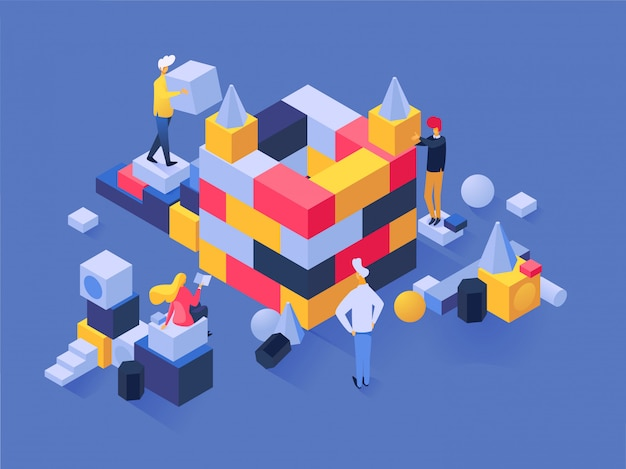 Leute errichten vektormannerbauer-charakterarbeit im team auf baugeschäftsherausforderung mit blockillustrationssatz der teamwork-strategielösungsidee des geschäftsmannes
