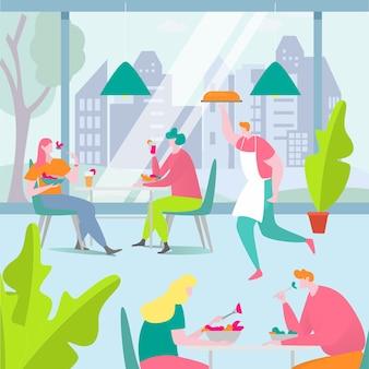 Leute essen essen in der caféillustration, zeichentrickfilm erwachsene mannfrau freund charaktere, die zusammen am tisch sitzen und essen