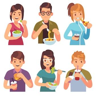 Leute essen. essen trinken essen männer frauen gesunde leckere gerichte mahlzeiten café lässig mittagessen hungrige freunde