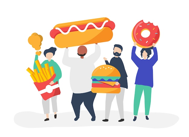 Leute essen junk food