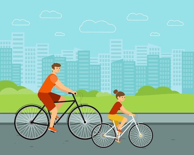 Leute fahren stadtfahrrad. frau und mann auf fahrrädern. kaukasische familienfiguren mit urbanem hintergrund.