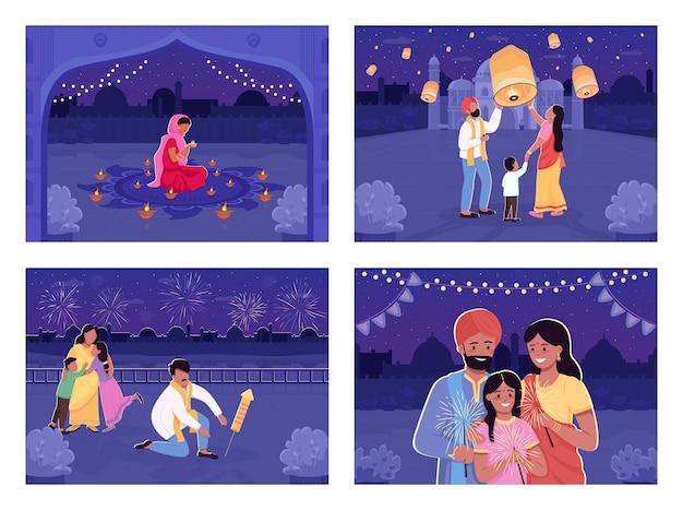 Leute feiern hinduistischen feiertagsflachfarbillustrationssatz