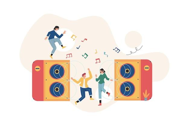 Leute feiern mit musik
