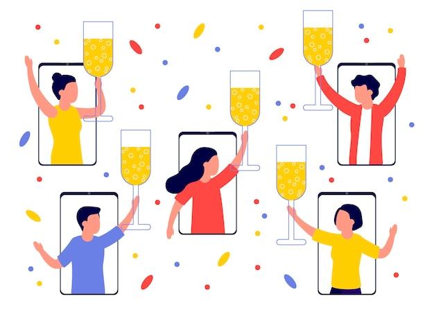 Leute feiern urlaub mit champagner in smartphones herzlichen glückwunsch zu weihnachten neujahr