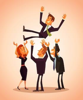 Leute freunde kollege arbeiter mann frau charaktere übergeben sich in luft freund.