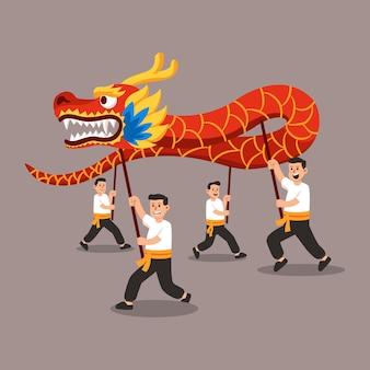 Leute führen traditionellen chinesen dragon dance flat illustration durch