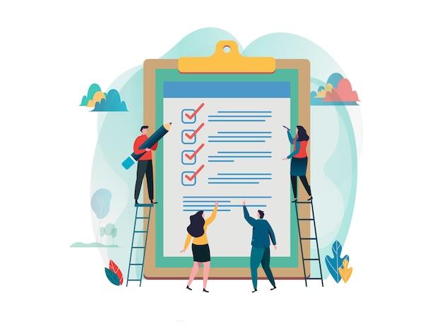 Leute füllen checkliste in einer zwischenablage aus.