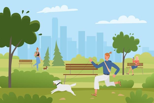 Leute gehen eigene hunde im sommergrünen stadtpark, manncharakter, der mit freundhund läuft