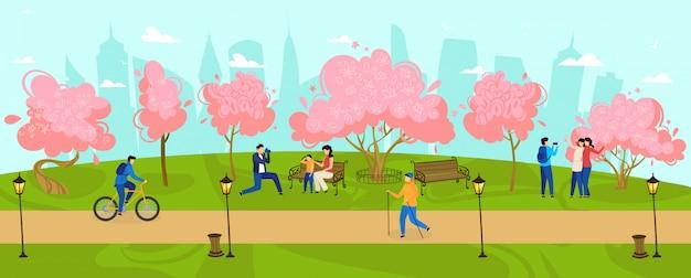 Leute gehen in parkfrühlingszeit, blühende bäume im freien natur, glückliche familie mit kindern, entspannungsillustration.