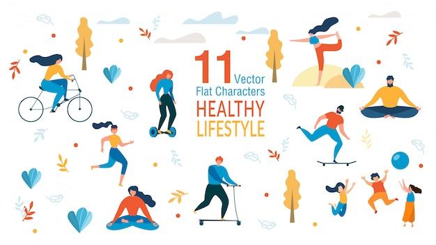 Leute-gesunde lebensstil-charaktere eingestellt