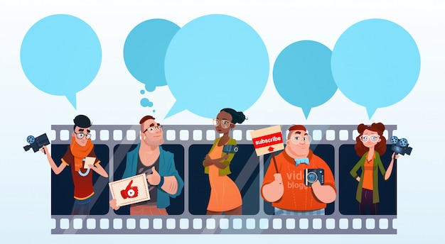 Leute-gruppen-video-blogger-on-line-blogging abonnieren konzept