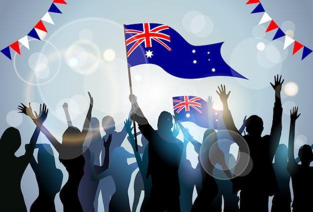 Leute gruppieren schattenbild-mengen-griff-flaggen-australien-tagespartei