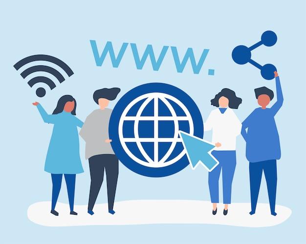 Leute halten world wide web-icons
