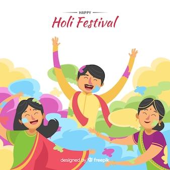 Leute holi festivalhintergrund feiern