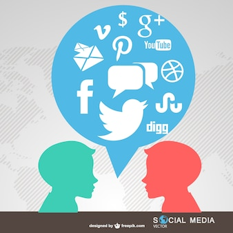 Leute im chat social-media-symbole