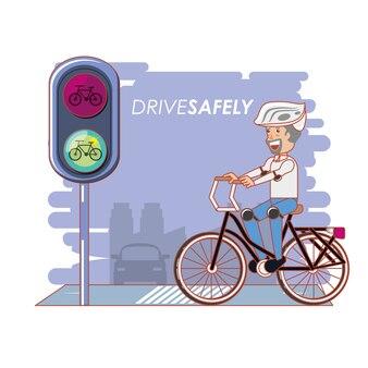 Leute im fahrrad fahren sicher kampagne