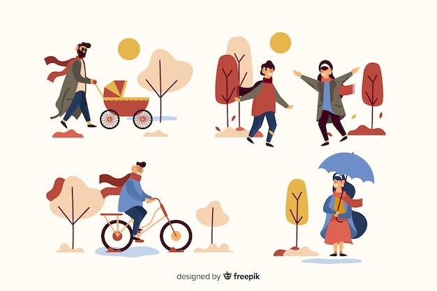 Leute im herbstpark