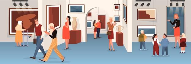 Leute im museum. kunstgalerie interieur. bild an der wand, berühmte ausstellung. altes meisterwerk. illustration