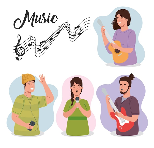 Leute im musikbanner