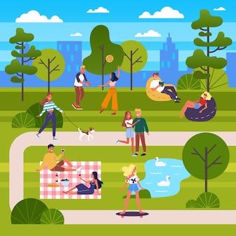 Leute im öffentlichen park. einen hund spazieren gehen