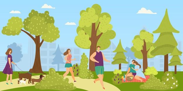 Leute im park im freien, vektorillustration. frauenmanncharakter läuft in der natur, stadtlebensstil für flache junge person. mädchen bei sommerspaziergang mit hunden, glückliches familienpaar beim picknick.