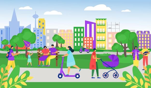 Leute im park im freien, vektorillustration. mannfrauencharakter an der stadtnatur, sommerlebensstil für junge person. familie geht zusammen, mädchen fahren roller, kurier bringen ordnung.