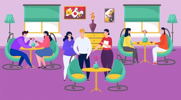 Leute im restaurant oder im café, die kaffee am tisch trinken, karikaturillustration treffen und sprechen.