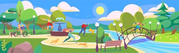 Leute im sommerpark, die mit hunden spielen und für sport, illustration gehen