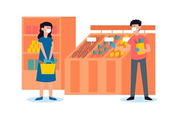 Leute im supermarkt, die masken tragen