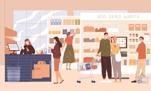 Leute im supermarkt in gesichtsmasken.