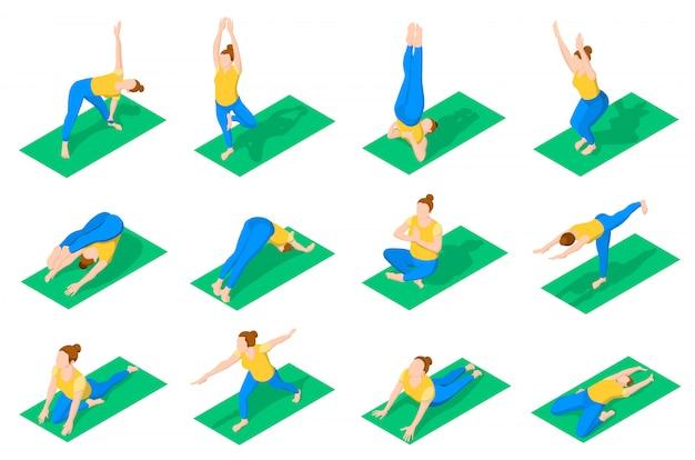 Leute im yoga wirft isometrische ikonen auf