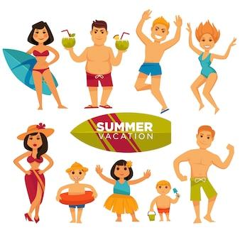 Leute in den badeanzügen an der bunten sammlung der sommerferien