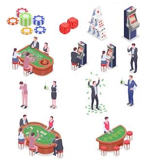 Leute in den isometrischen ikonen des kasinos stellten lokalisiert auf weißem hintergrund 3d ein