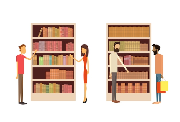 Leute in der bibliothek, buchladen-innenraum bookself