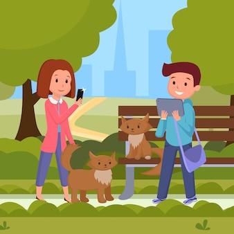 Leute in der flachen illustration des städtischen parks. männliche, weibliche figuren, die im städtischen freizeitpark sich entspannen